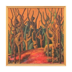 Bouchar Yellow Toned Fauvist Style Tree Landscape