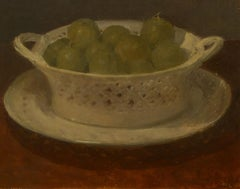 """""""Bowl of Plums,"""" Monogrammed N.C., British/French Impressionist, oil, still life"""