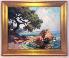 Bright Coastal Seascape Painting California Impressionist 1930's Unsigned Framed