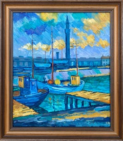 British post impressionist painting of a Harbour at dusk