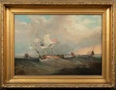 British Royal Navy Frigate In Choppy Waters, 19th Century