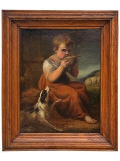British School Genre View of a Boy and a Dog, circa 1830-50
