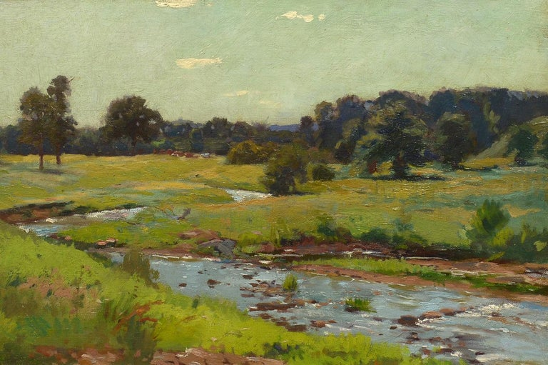 "Unknown Landscape Painting - ""Brook Through the Meadow,"" Oil Painting by an American Impressionist"