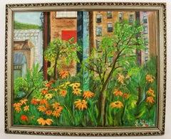 Brooklyn Garden  City Scape Landscape  Painting