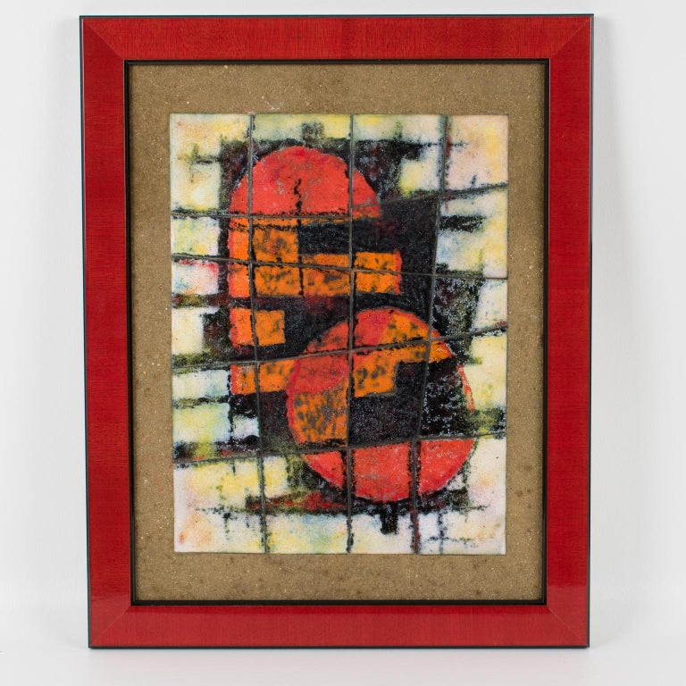 Brutalist Abstract Enamel Mounted Wall Panel Plaque Artwork For Sale 1