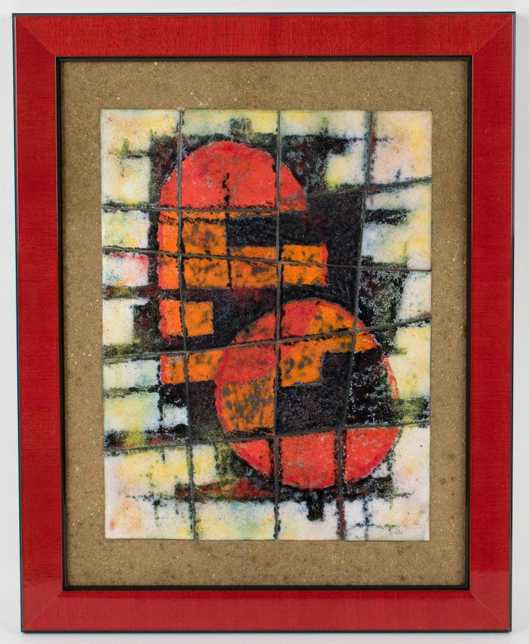 Brutalist Abstract Enamel Mounted Wall Panel Plaque Artwork For Sale 5