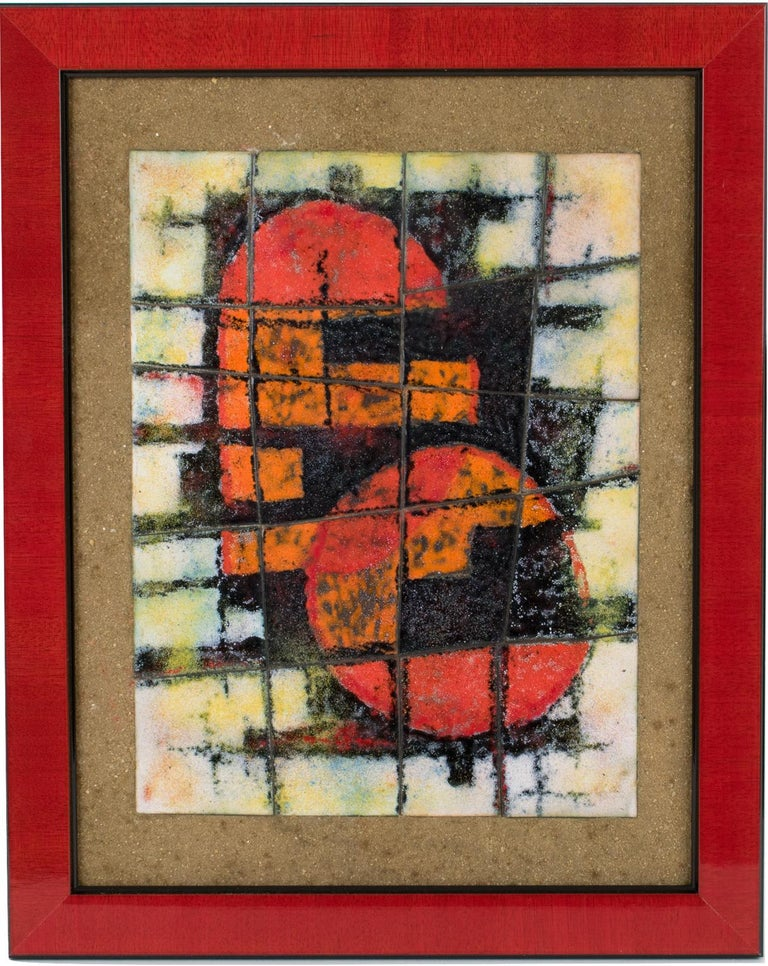 Unknown Abstract Painting - Brutalist Abstract Enamel Mounted Wall Panel Plaque Artwork