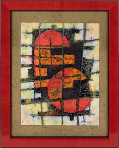 Brutalist Abstract Enamel Mounted Wall Panel Plaque Artwork