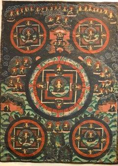 Buddha Mudra Mandala - Vintage Tibetan Thangka - Early 20th Century