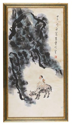 Buddhist Allegory - Original Mixed Media by Chinese Master Early 1900
