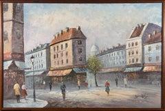 Burner - Signed & Framed Mid 20th Century Oil, Impressionistic Street