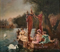 C. 1900 FRENCH BELLE EPOQUE HUGE OIL PAINTING - ELEGANT LADIES BOATING ON LAKE