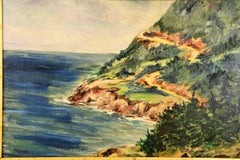 California Coastal Seascape Landscape  Painting circa 1940