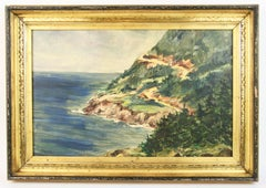 California Coastal Seascape Landscape  Painting circa 1940