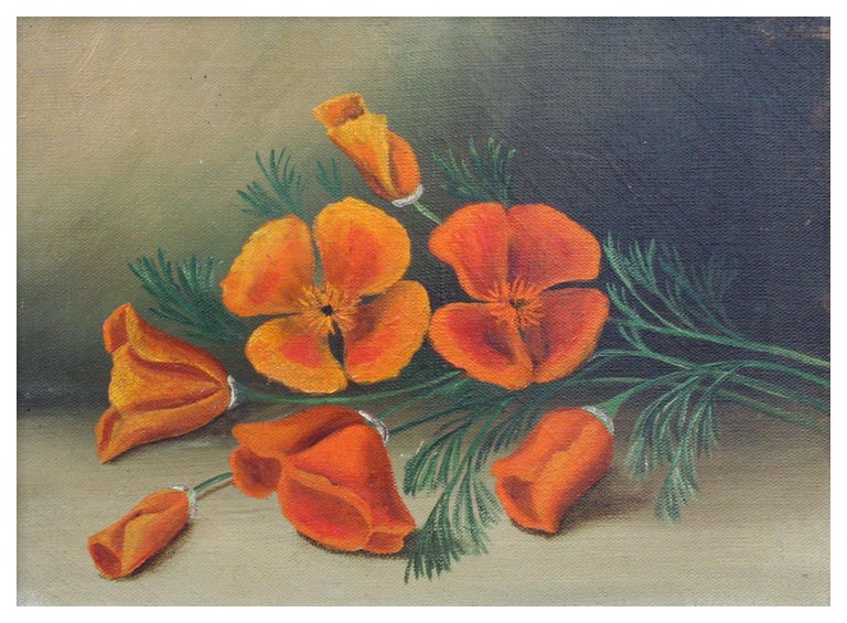 California Poppies - Botanical Still Life - Painting by Unknown