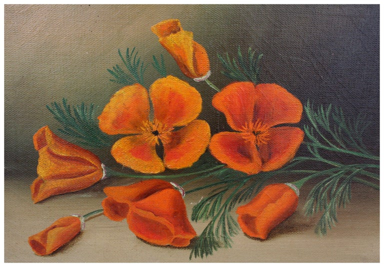 California Poppies - Botanical Still Life - American Impressionist Painting by Unknown