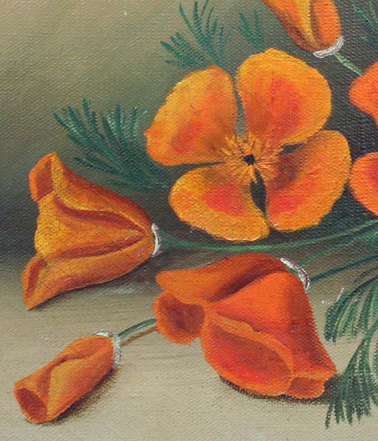 California Poppies - Botanical Still Life - Brown Still-Life Painting by Unknown