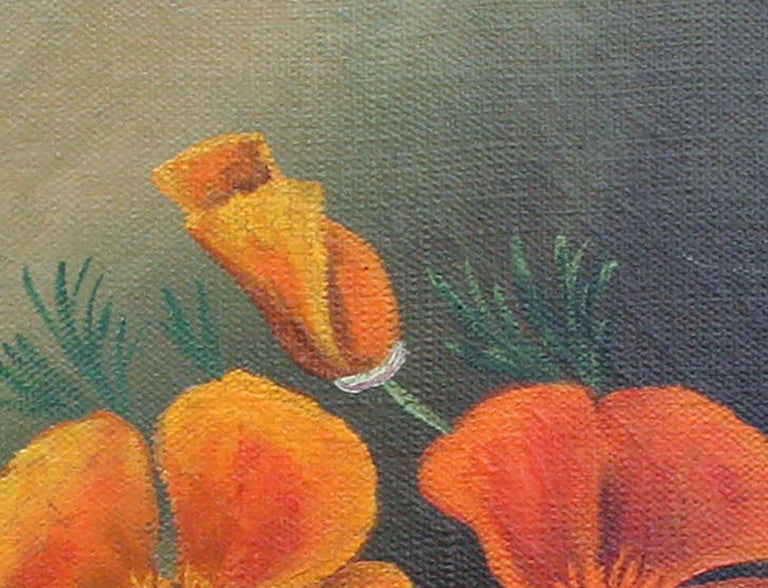 Beautiful botanical still life oil painting of California Poppies, the state flower of California, by an unknown artist. Unsigned. Presented in rustic wood frame. Image, 10