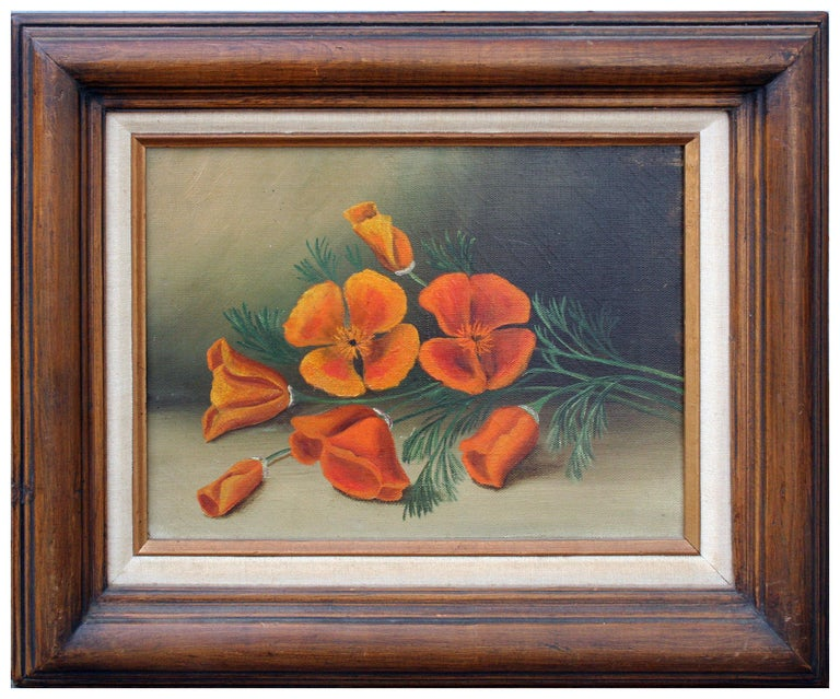 Unknown Still-Life Painting - California Poppies - Botanical Still Life