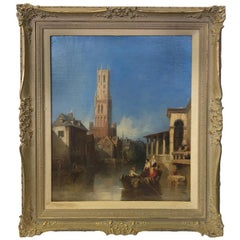 Canal in Bruges Attributed to Richard Parkes Bonington