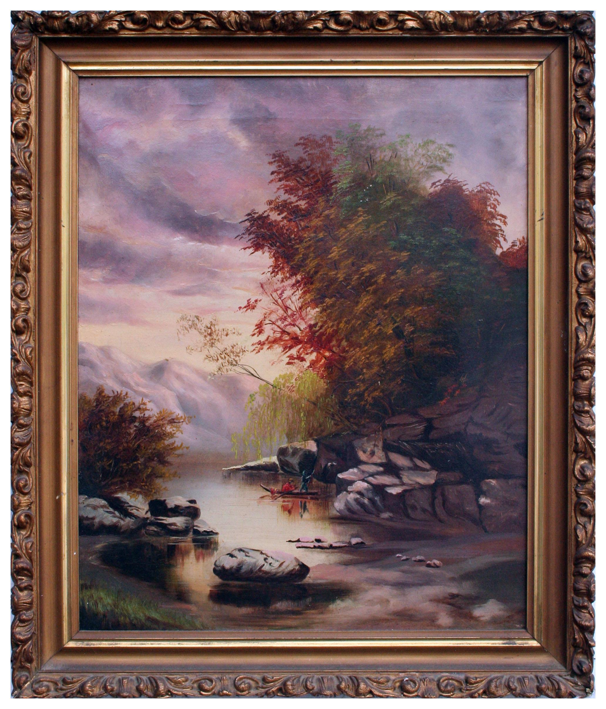 Canoeing on the River Autumnal Landscape