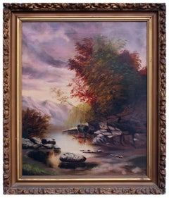 Canoeing on the River Autumn Landscape