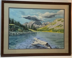 Carl Martin Western Mountain Landscape Watercolor Painting c.1970