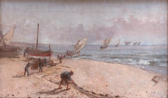 Catalan school early 20th century Fishermen on the beach Oil on canvas