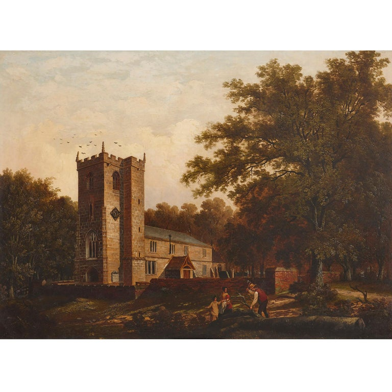 'Chapel in the Woods', oil on canvas painting by English School  - Painting by Unknown