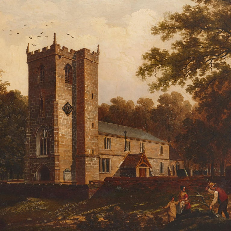 'Chapel in the Woods', oil on canvas painting by English School  - Naturalistic Painting by Unknown