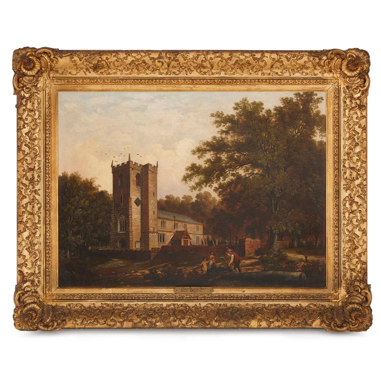 Unknown Figurative Painting - 'Chapel in the Woods', oil on canvas painting by English School