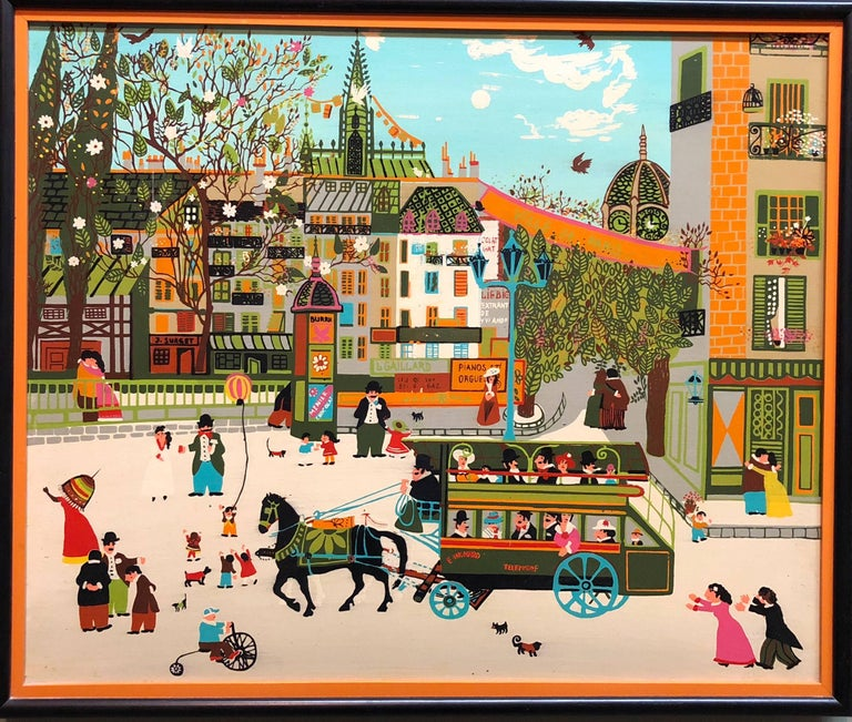 Charming Vintage 1970s French Naive Paris Street Scene Folk Art Style - Painting by Unknown