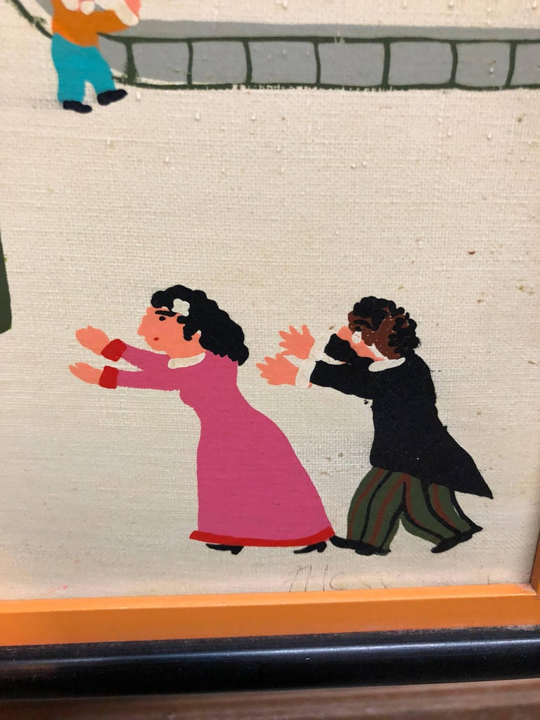 Charming Vintage 1970s French Naive Paris Street Scene Folk Art Style For Sale 1