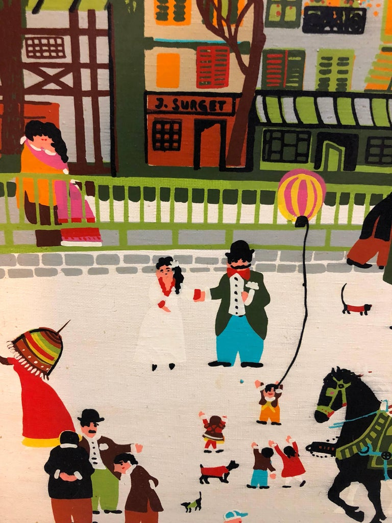 Charming Vintage 1970s French Naive Paris Street Scene Folk Art Style For Sale 2