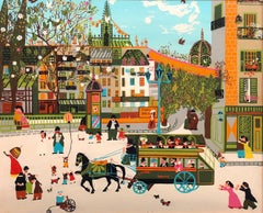 Charming Vintage 1970s French Naive Paris Street Scene Folk Art Style