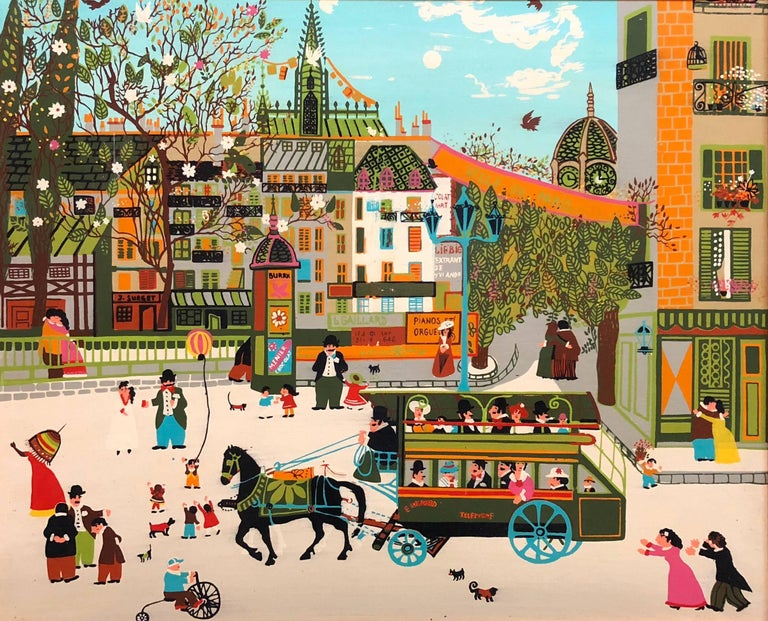 Unknown Figurative Painting - Charming Vintage 1970s French Naive Paris Street Scene Folk Art Style