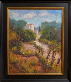 Chateau and Vineyard, Plein Air Landscape Original Art Black Frame Oil on Linen