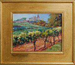 Chateau de Mung, Plein Air Landscape Original Art Gold Frame Oil on Linen Board