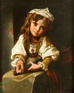 Child with Violin - Original Oil on Canvas 19th Century