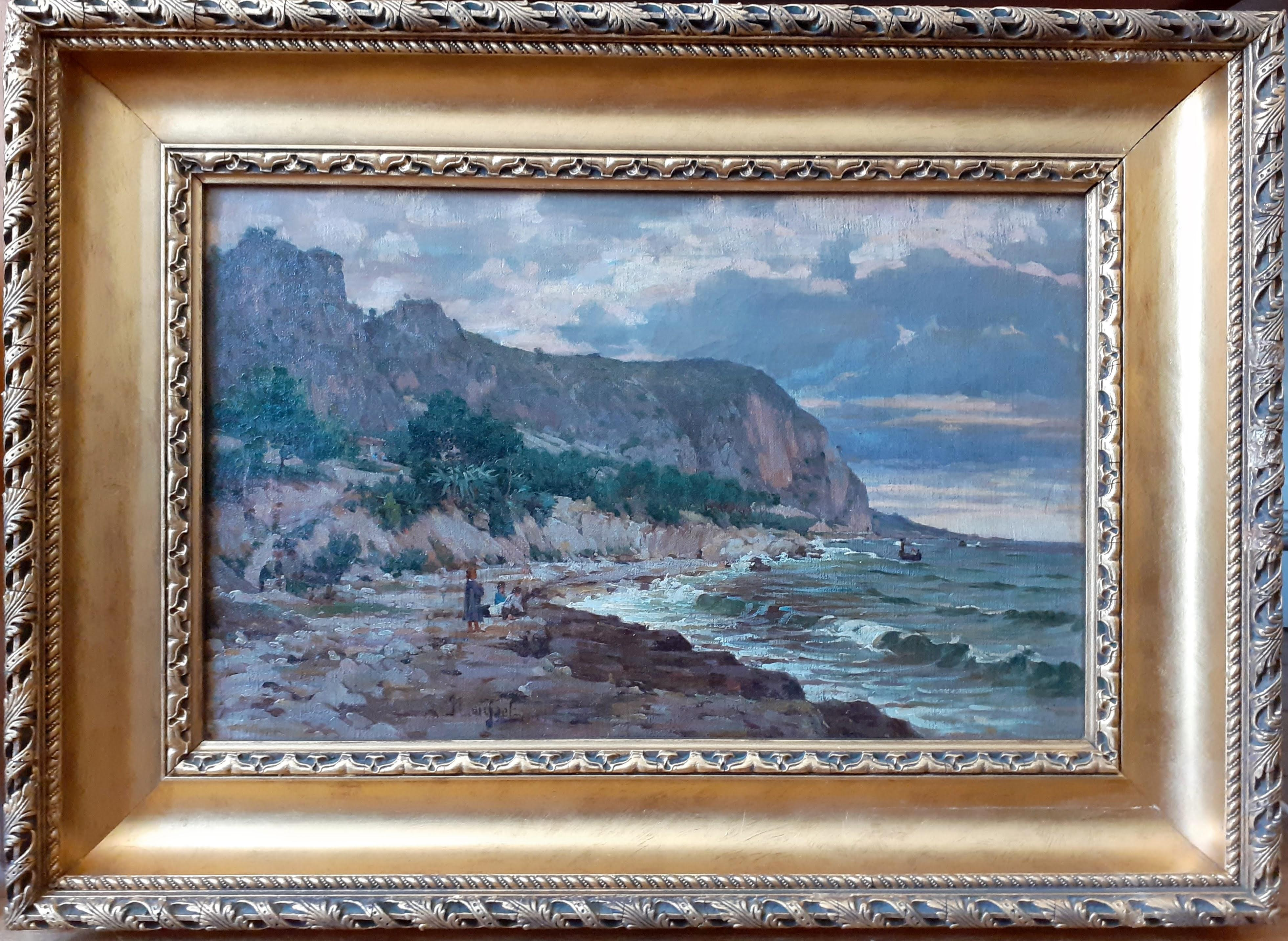 Children on the Beach Marine Landscape French Antique Oil Painting