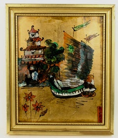 Chinese Junk Painting on glass