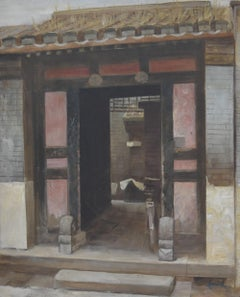 Chinese School of the 20th century, A view of a Hutong, oil on canvas