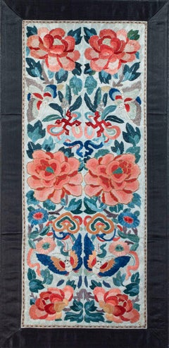 """""""Chinese Silk Textile,"""" Silk Flowery Embroidery created in the 19th Century"""