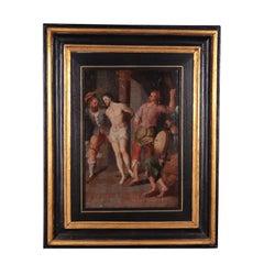 Christ At The Column North European School Oil On Oak 16th Century