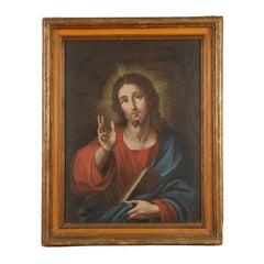 Christ Blessing Oil on Canvas Italian School 17th Century