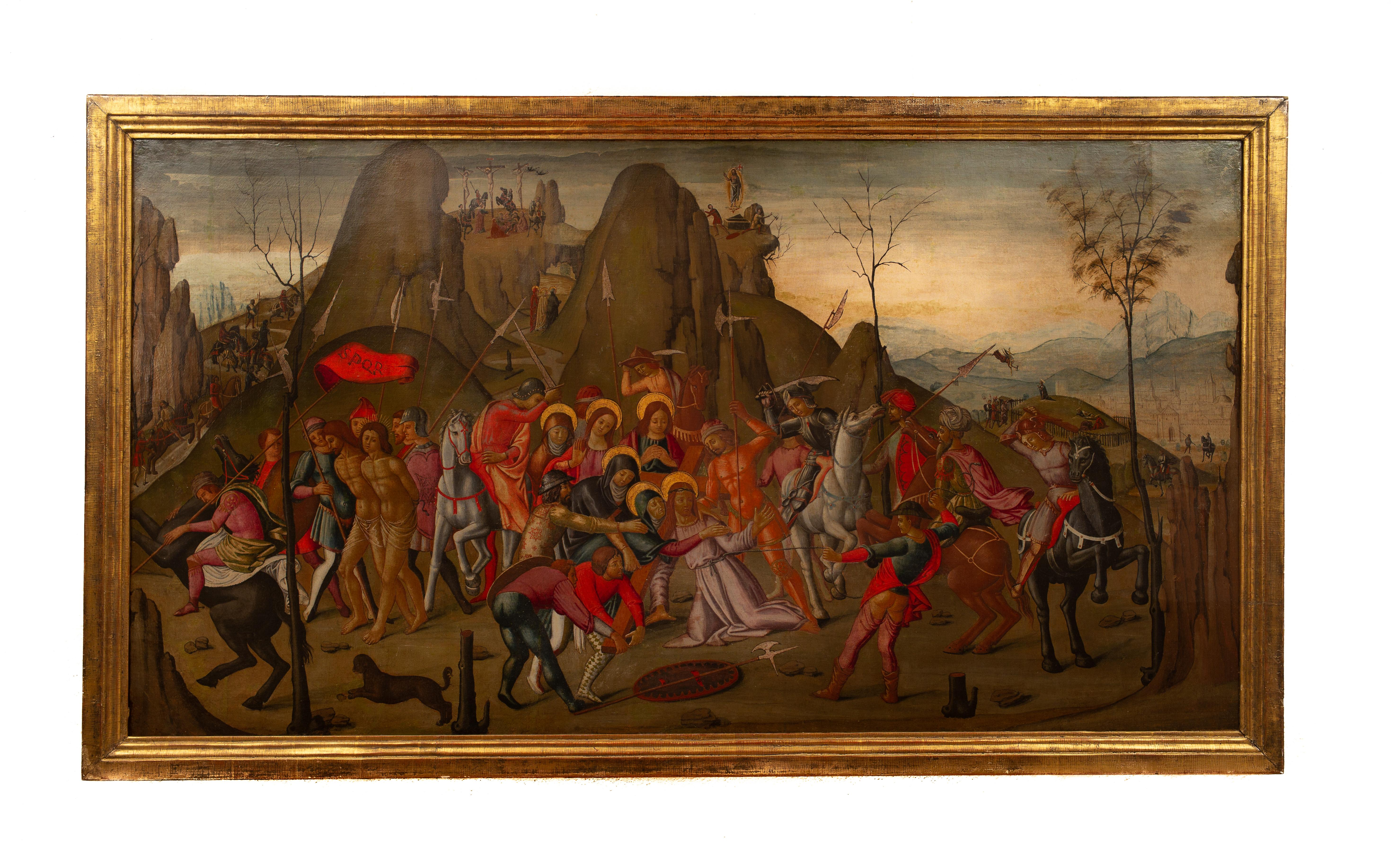 Christ Carrying the Cross in 15th Century Style, Oil on Canvas