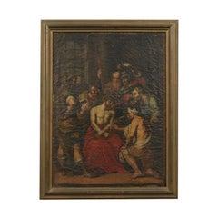 Christ Mocked Oil On Canvas Italian School 17th 18th Century