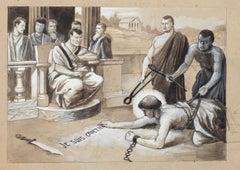 Christian Prisoner - Original Tempera on Cardboard - 20th Century