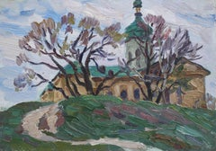 'Church on the Hill', Impressionist Landscape Oil Painting, Circa 1970s