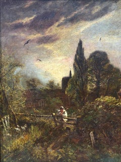 Churchyard At Dusk. Moody Looking Victorian Oil Painting